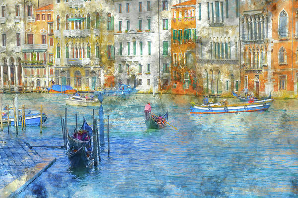 Photograph - Gondolas In Scenic Venice Italy by Brandon Bourdages