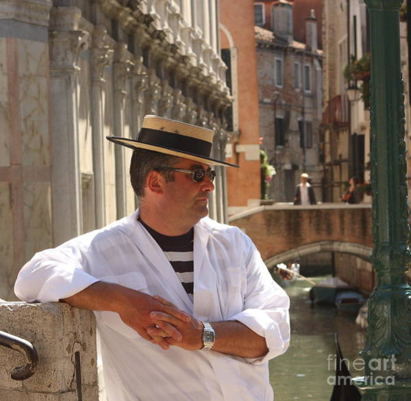 Wall Art - Photograph - Gondolier In Venice Waiting For A Fare by Michael Henderson