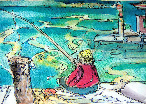 Wall Art - Painting - Gone Fishing by Mindy Newman