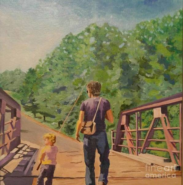 Painting - Gone Fishing With Dad by Stella Sherman