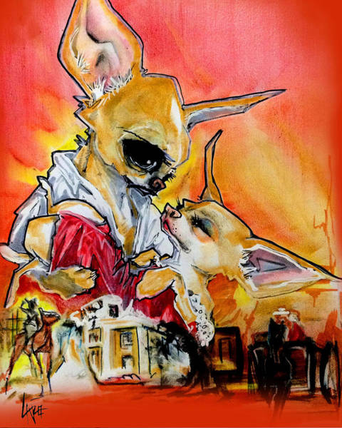 Drawing - Gone With The Wind Chihuahuas Caricature Art Print by John LaFree