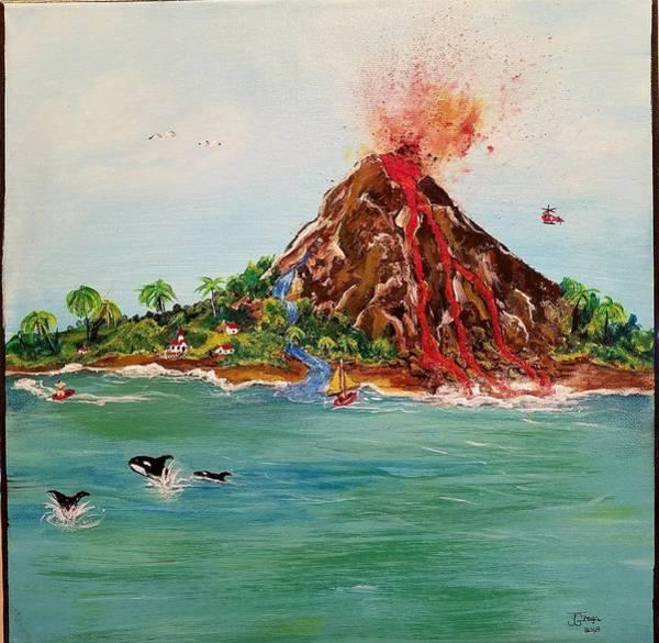 Volcanoe Painting - Good Day Bad Day by Joan Grega