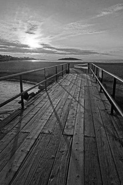 Photograph - Good Harbor Beach Footbridge Shadows Black And White by Toby McGuire
