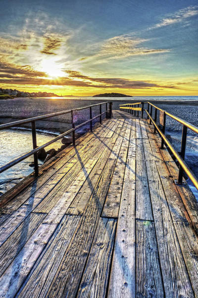 Good Harbor Beach Footbridge Shadows Art Print