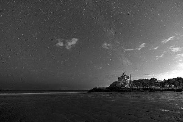 Photograph - Good Harbor Beach Under The Stars And Milky Way Black And White by Toby McGuire