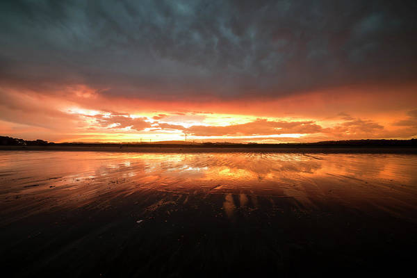Photograph - Good Harbor Beach Vibrant Sunset Reflection by Toby McGuire