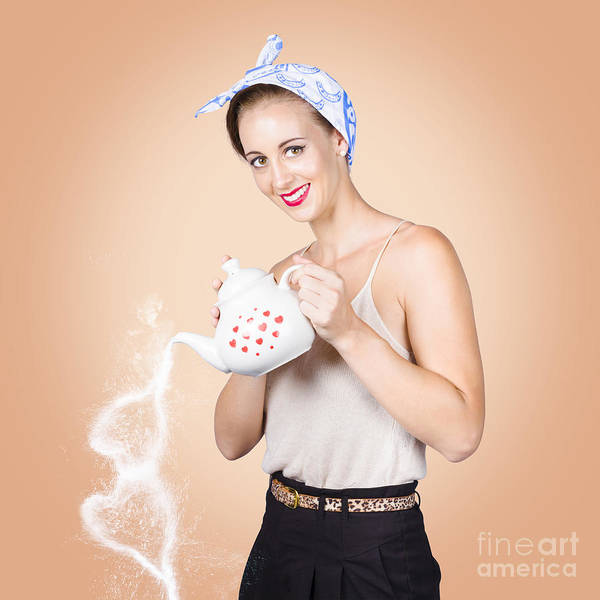 Wall Art - Photograph - Good Looking Female Pouring Hot Coffee Love by Jorgo Photography - Wall Art Gallery