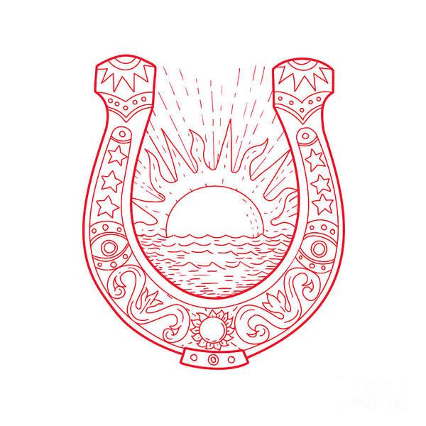 Horseshoe Digital Art - Good Luck Horseshoe Sun Sea Drawing by Aloysius Patrimonio