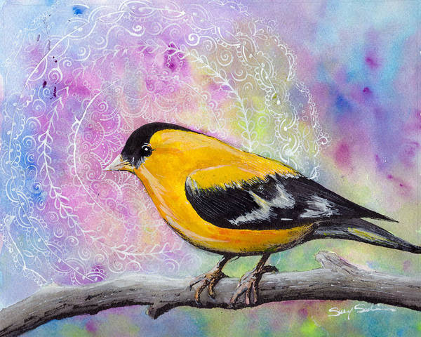 Wall Art - Painting - Good Morning Goldfinch by Susy Soulies