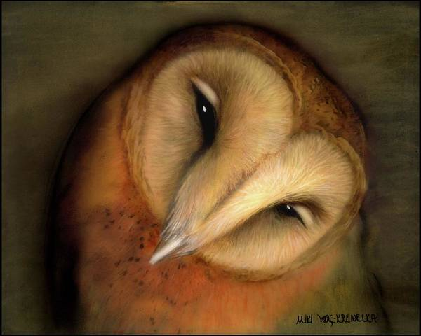 Nocturnal Drawing - Good Night Owl by Miki Krenelka