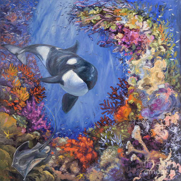 Save The Whales Wall Art - Painting - Good Ray Hunting by Kristen Olson Stone