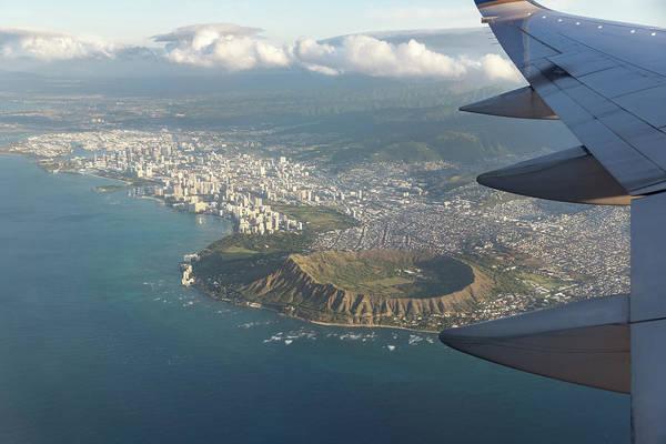 Photograph - Goodbye Hawaii - Diamond Head Volcano Crater Waikiki And Honolulu Aerial  by Georgia Mizuleva