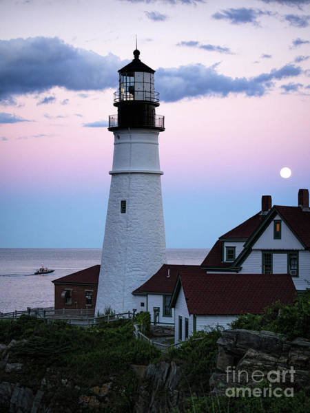 Photograph - Goodnight Moon, Goodnight Lighthouse  -98588 by John Bald