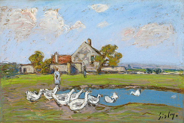 Impressionistic Drawing - Goose Girl At Sablons by Alfred Sisley