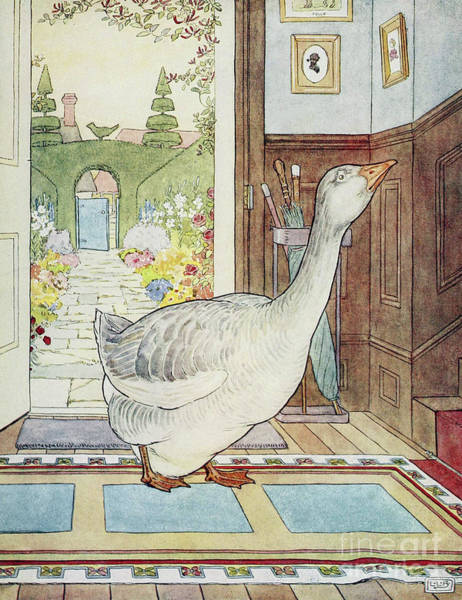 Wall Art - Drawing - Goosey, Goosey Gander, Where Shall I Wander by Leonard Leslie Brooke