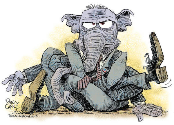 Drawing - Gop Tied Up In A Knot by Daryl Cagle