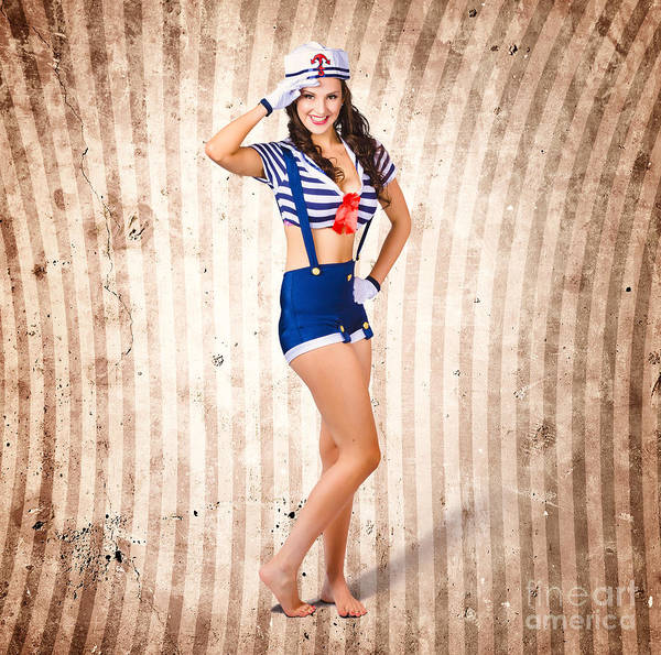 Cadets Wall Art - Photograph - Gorgeous Young Retro Pinup Sailor Girl by Jorgo Photography - Wall Art Gallery