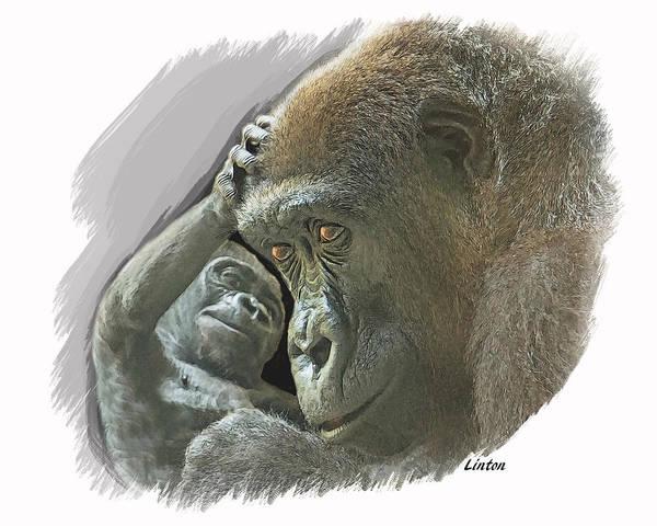 Digital Art - Gorilla Mother by Larry Linton