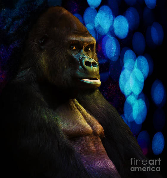Digital Art - Gorilla Stare With Abstract Bokeh Background In Blue by Tracey Everington
