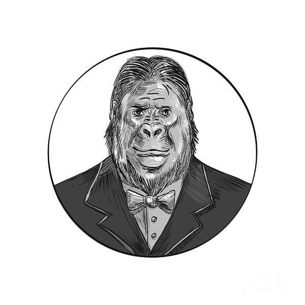 Groom Digital Art - Gorilla Wearing Tuxedo Drawing by Aloysius Patrimonio