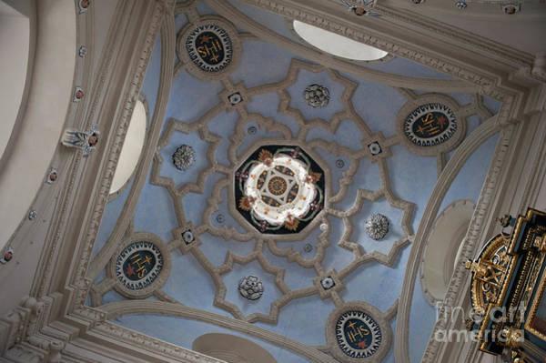 Wall Art - Photograph - Gorskich Chapel Blue Ceiling by Arletta Cwalina