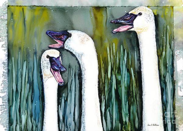 Trumpeter Swan Painting - Gossip by Jan Killian