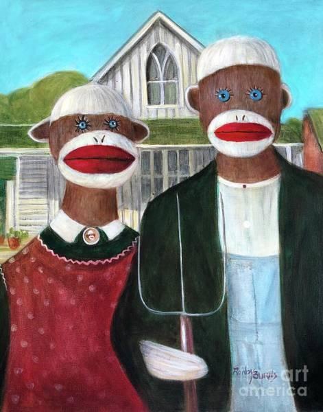 Wall Art - Painting - Gothic American Sock Monkeys by Randy Burns