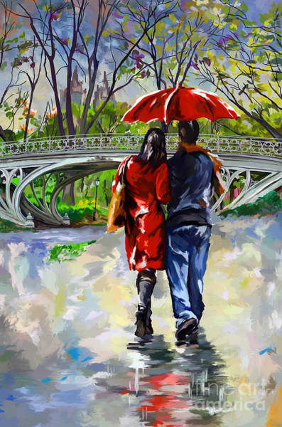 Walking In The Rain Wall Art - Painting - Gothic Bridge Of Central Park by Tim Gilliland