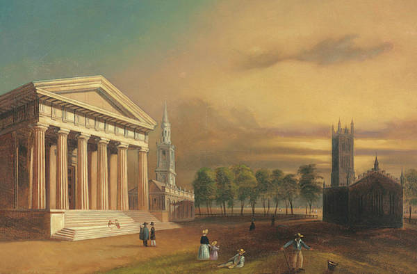 Square Tower Painting - Gothic Church, New Haven by William Henry Bartlett