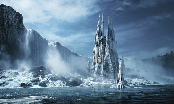 Frozen River Digital Art - Gothic Fantasy Or Expiatory Temple by George Grie
