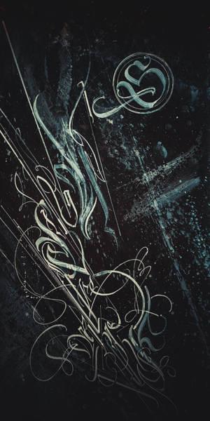Drawing - Gothic Script Lumine. Calligraphic Abstract by Dmitry Mandzyuk