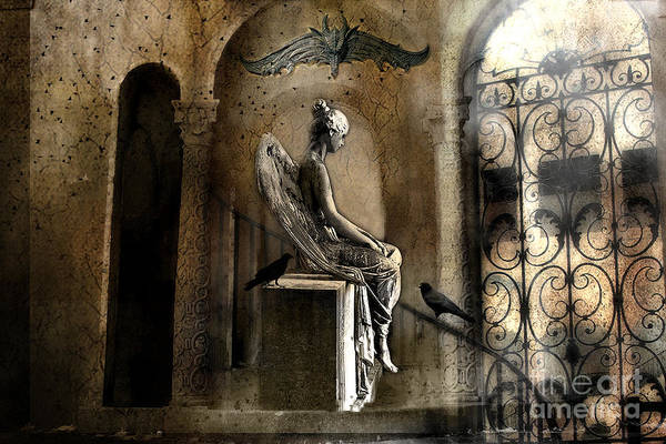 Emotive Photograph - Gothic Surreal Angel With Gargoyles And Ravens  by Kathy Fornal