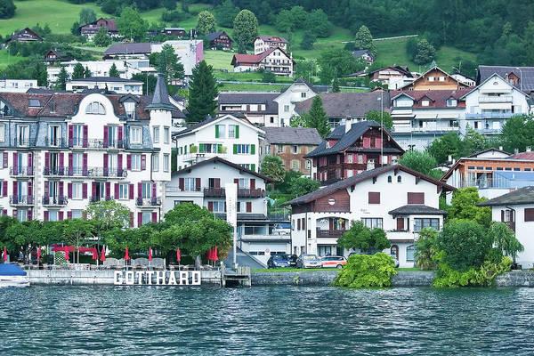 Digital Art - Hotel Gotthard On Lake Lucerne by Gene Norris