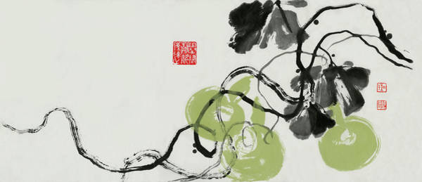 Chinese Brush Painting - Gourd - 5 by River Han