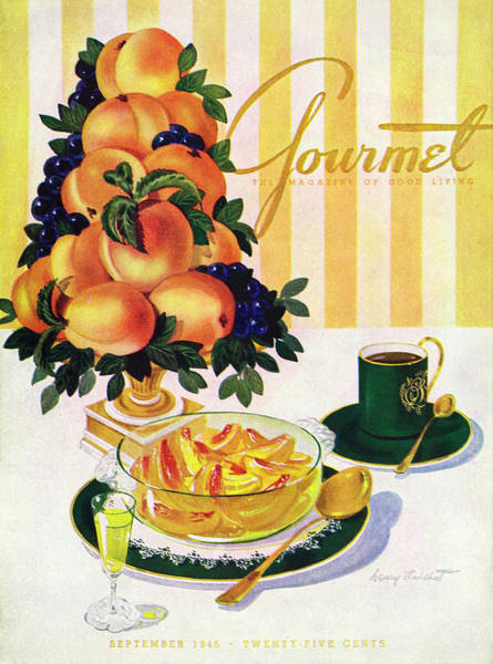 Stripe Photograph - Gourmet Cover Featuring A Centerpiece Of Peaches by Henry Stahlhut