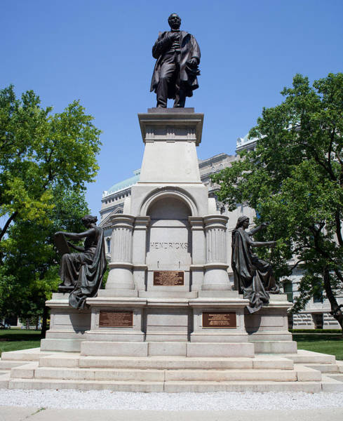 State Of Indiana Photograph - Governor Thomas A. Hendricks Monument by Panoramic Images