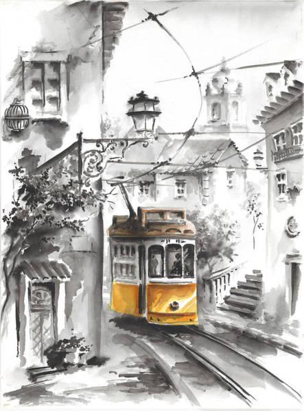 Wall Art - Painting - Graca Lisbon Tram Black And White Background by Elena Petrova Gancheva