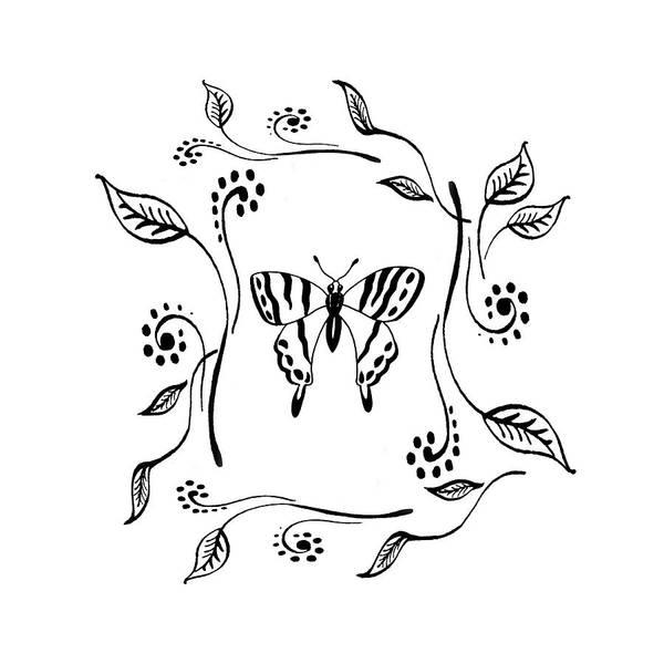 Drawing - Graceful Butterfly Baby Room Decor IIi by Irina Sztukowski