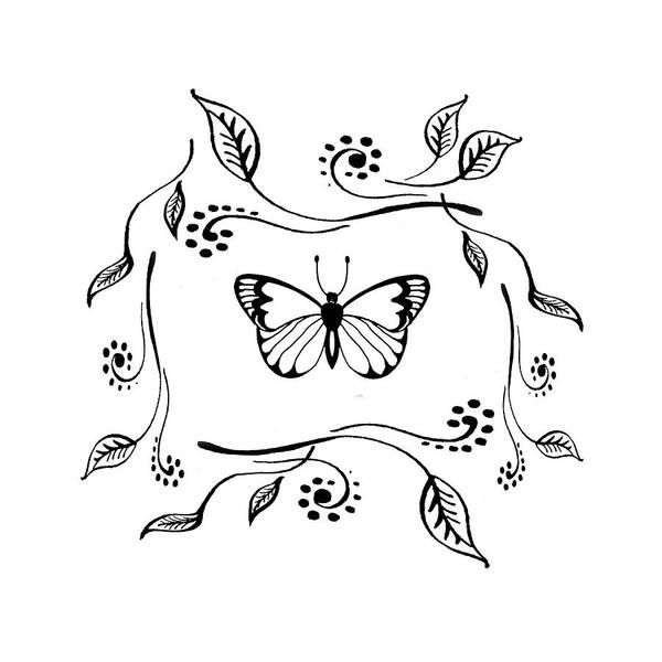 Butterfly Drawing - Graceful Butterfly Baby Room Decor Iv by Irina Sztukowski