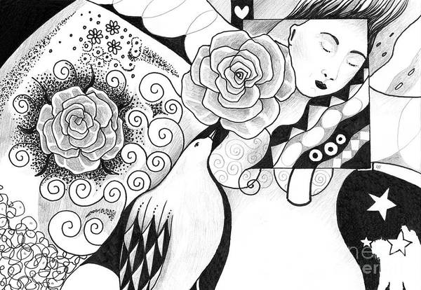 Organic Abstraction Drawing - Gracefully by Helena Tiainen