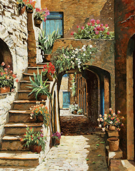 Stairs Painting - Gradini In Cortile by Guido Borelli