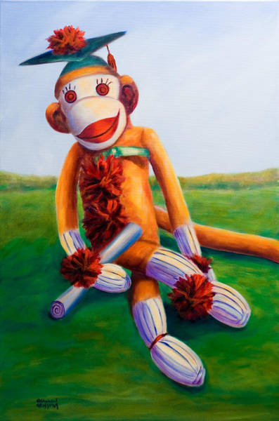 Sock Monkey Painting - Graduate Made Of Sockies by Shannon Grissom