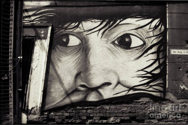 Drawing - Graffiti Monochrome - Face by Daliana Pacuraru