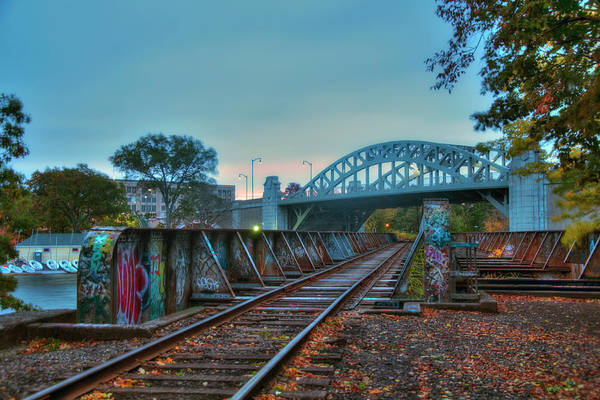 Photograph - Graffiti On Train Tracks Under The Bu Bridge - Cambridge by Joann Vitali