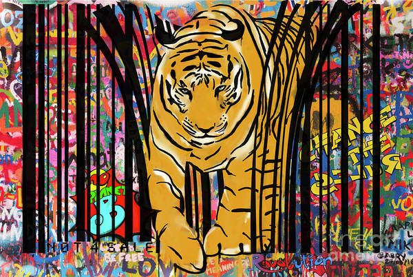 Barcode Wall Art - Mixed Media - Graffiti Tiger by Sassan Filsoof