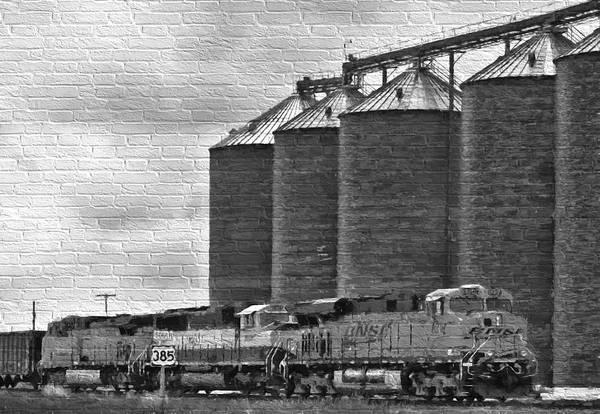Photograph - Grain And Train On Brick Wall by Ginger Wakem