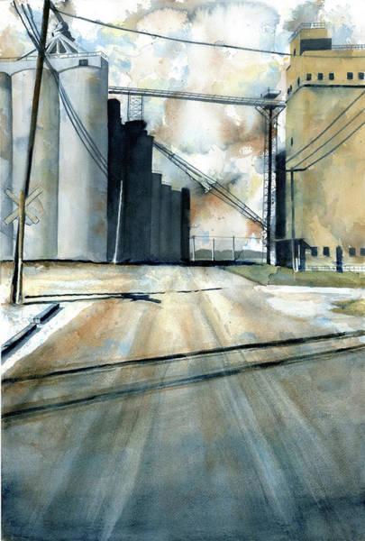 Crop Painting - Grain Elevator At Eldean by Marsha Elliott
