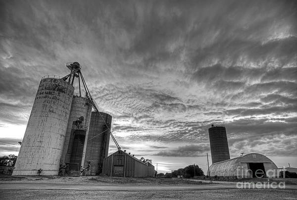 Photograph - Grain Elevators At Dusk Black And White  by Art Whitton