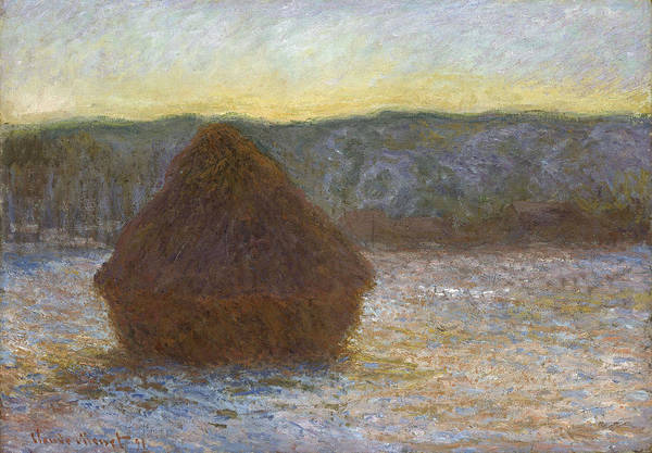 Barley Painting - Grainstack, Thaw, Sunset, 1891 by Claude Monet