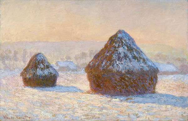 Barley Painting - Grainstacks In The Morning, Snow Effect, 1891 by Claude Monet
